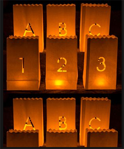 Alphanumeric candle bags